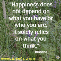 Happiness does not depend on what you have or who you are, it solely relies on what you think. Buddha