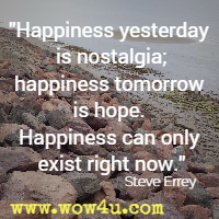Happiness yesterday is nostalgia; happiness tomorrow is hope. Happiness can only exist right now. Steve Errey