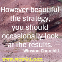 However beautiful the strategy, you should occasionally look at the results. Winston Churchill