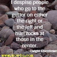 I despise people who go to the gutter on either the right or the left and hurl rocks at those in the center. Dwight Eisenhower
