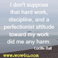 I don't suppose that hard work, discipline, and a perfectionist attitude toward my work did me any harm. Lucille Ball