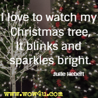 I love to watch my Christmas tree, It blinks and sparkles bright. Julie Hebert