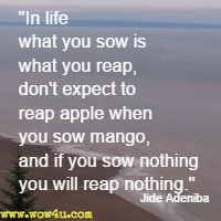 In life what you sow is what you reap, don't expect to reap apple when you sow mango, and if you sow nothing you will reap nothing. Jide Adeniba