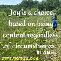 Joy is a choice based on being content regardless of circumstances. M. Ahlers