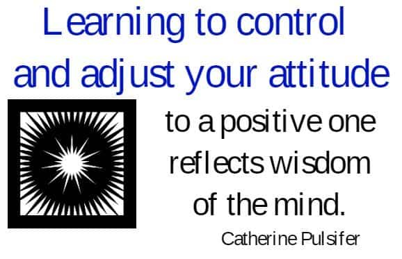 Learning to control and adjust your attitude to a positive one reflects wisdom of the mind. Catherine Pulsifer