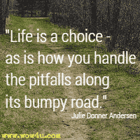 Life is a choice - as is how you handle the pitfalls along its bumpy road. Julie Donner Andersen
