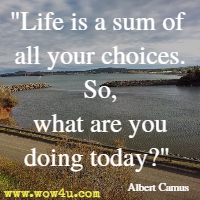 Life is a sum of all your choices. So, what are you doing today  Albert Camus