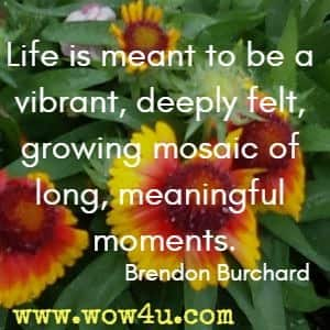 Life is meant to be a vibrant, deeply felt, growing mosaic of long, meaningful moments. Brendon Burchard