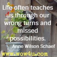 Life often teaches us through our wrong turns and missed possibilities. Anne Wilson Schaef