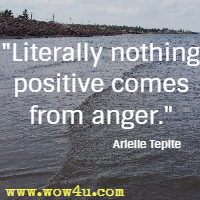 Literally nothing positive comes from anger. Arielle Tepite
