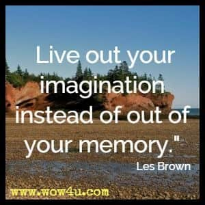 Live out your imagination instead of out of your memory. Les Brown