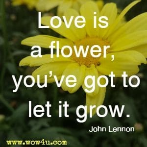 Love is a flower, you've got to let it grow. John Lennon