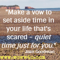 Make a vow to set aside time in your life that's scared - quiet time just for you. Joan Goodman