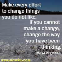 Make every effort to change things you do not like. If you cannot make a change, change the way you have been thinking. Maya Angelou