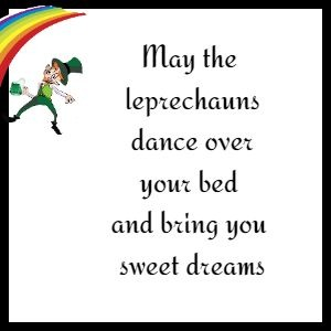 May the leprechauns dance over your bed and bring you sweet dreams.