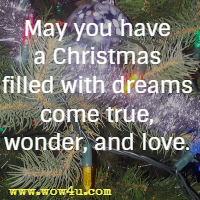 May you have a Christmas filled with dreams come true, wonder, and love.