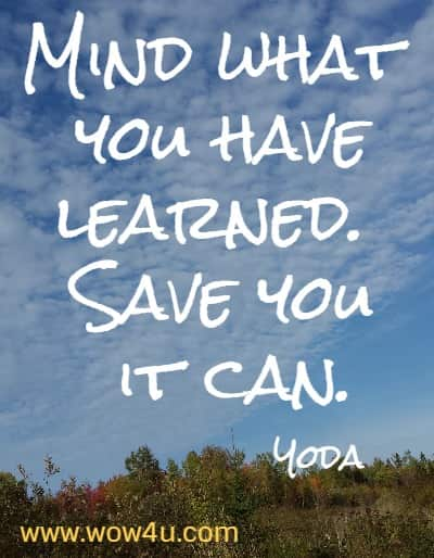 Mind what you have learned. Save you it can.  Yoda