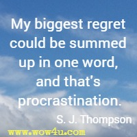 My biggest regret could be summed up in one word, and that's procrastination. S. J. Thompson