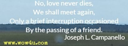 No, love never dies, We shall meet again, Only a brief interruption occasioned By the passing of a friend.