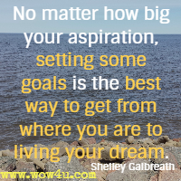 No matter how big your aspiration, setting some goals is the best way to get from where you are to living your dream. Shelley Galbreath