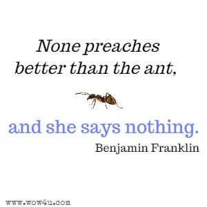 None preaches better than the ant, and she says nothing. Benjamin Franklin