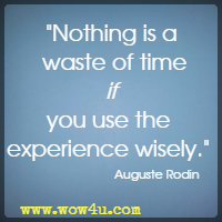 Nothing is a waste of time if you use the experience wisely. Auguste Rodin