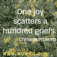 One joy scatters a hundred griefs. Chinese Proverb