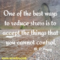 One of the best ways to reduce stress is to accept the things that you cannot control. M. P. Neary