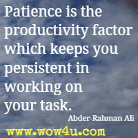 Patience is the productivity factor which keeps you persistent in working on your task. Abder-Rahman Ali