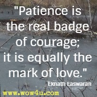 Patience is the real badge of courage; it is equally the mark of love. Eknath Easwaran