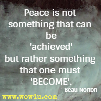 Peace is not something that can be 'achieved' but rather something that one must BECOME. Beau Norton