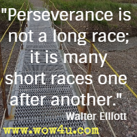 Perseverance is not a long race; it is many short races one after another.  Walter Elliott