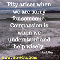 Pity arises when we are sorry for someone. Compassion is when we understand and help wisely. Buddha