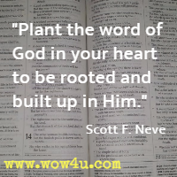 Plant the word of God in your heart to be rooted and built up in Him. Scott F. Neve