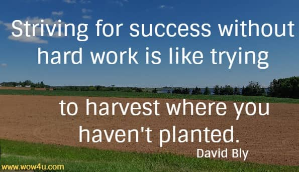 Striving for success without hard work is like trying to harvest where you haven't planted.   David Bly