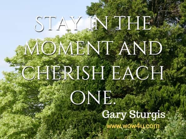 Stay in the moment and cherish each one. Gary Sturgis, Finding Your Way From Grief To Healing