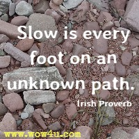 Slow is every foot on an unknown path. Irish Proverb