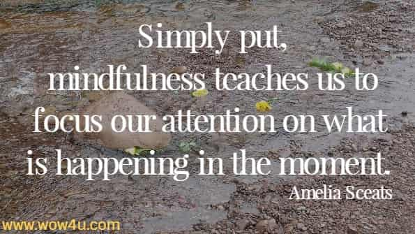 Simply put, mindfulness teaches us to focus our attention on what is happening in the moment. Amelia Sceats