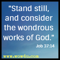 Stand still, and consider the wondrous works of God. Job 37:14