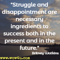 Struggle and disappointment are necessary ingredients to success both in the present and in the future. Britney Watkins