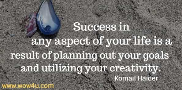 Success in any aspect of your life is a result of planning  out your goals and utilizing your creativity. Komail Haider