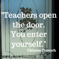 Teachers open the door. You enter yourself. Chinese Proverb