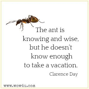 The ant is knowing and wise, but he doesn't know enough to take a vacation. Clarence Day