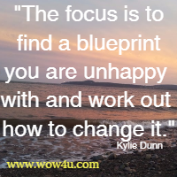 The focus is to find a blueprint you are unhappy with and work  out how to change it. Kylie Dunn