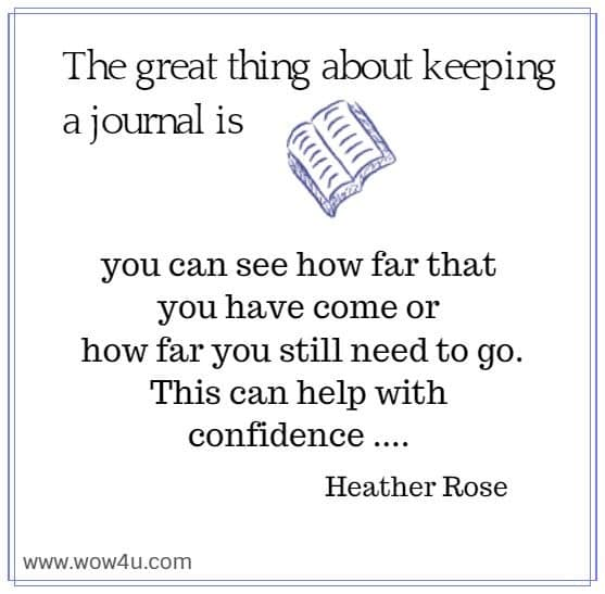 The great thing about keeping a journal is you can see how far that  you have come or how far you still need to go. This can help with  confidence .... Heather Rose