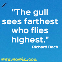 The gull sees farthest who flies highest. Richard Bach