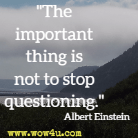The important thing is not to stop questioning.  Albert Einstein