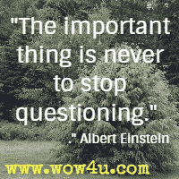 The important thing is never to stop questioning. Albert Einstein