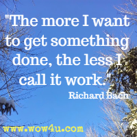 The more I want to get something done, the less I call it work. Richard Bach