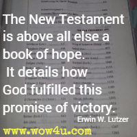 The New Testament is above all else a book of hope. It details how God fulfilled this promise of victory. Erwin W. Lutzer